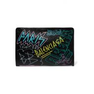 Balenciaga Bazar Graffiti printed textured-leather pouch