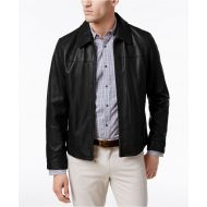 Cole Haan Mens Full-Zip Leather Bomber Jacket