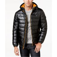 Cole Haan Mens Faux-Leather Puffer Coat