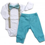 Cuddle Sleep Dream Baby Boy Coming Home Outfit With Bow Tie and Suspenders in Aqua