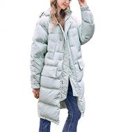 Duck down LQYRF Winter Ladies Long Hooded Loose Zipper Bean Green Thick Down Jacket 76%~80% White Duck Down Polyester