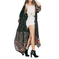 Goose down JESPER Women Loose Floral Chiffon Kimono Blouse Tops with Fringe Shawls Long Cardigan