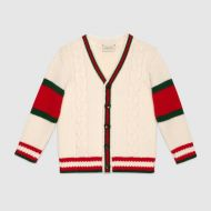 Gucci Childrens cable knit wool cardigan