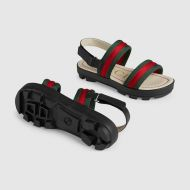 Gucci Childrens leather and Web sandal