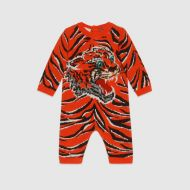 Gucci Baby tiger jacquard wool sleepsuit