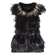 Isabel Marant Black/Off White Cadzi Feather and Faux Raffia Vest