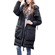 LQYRF Winter Women Long Sleeve Hooded Loose Zip Black Thick Down Jacket 76%~80% White Duck Down Polyester Women Jacket