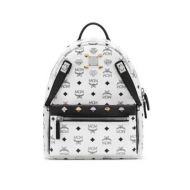 Mcm Dual Stark white small backpack