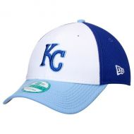 Mens Kansas City Royals New Era White/Light Blue Perforated Block 9FORTY Adjustable Hat