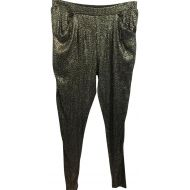 Zara Basic Elastic Waistband Embellished Black and Gold M Pants